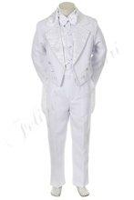 by011 bambino bianco ragazzo tuta tuxedo bambino abbigliamento formale comunione battesimo battesimo cerimonia festa di nozze jacquard 5pc s m l xl