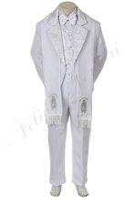 Btws6 bambino bianco ragazzo tuta tuxedo bambino abiti da cerimonia battesimo battesimo cerimonia jacquard Guadalupe 6pc w/rubato 2t 3t 4t