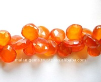 Red Carnelian Color Chalcedony Heart Shape Briolette Loose Beads