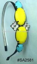 fashion metal prong setting and crystal/acrylic rhinestones hair jewelry headband hairband