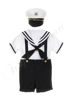 ML605 Navy Baby Boy Sailor Set Outfit Suit Toddler Formal wear Easter Wedding Party Special Perfect Gift 2T 3T 4T
