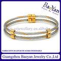 nova moda pulseira em aço inox cabo pulseira com anel em anexo
