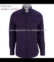 Men's Purple long sleeve contrast double buttons collar formal shirt QR-2328