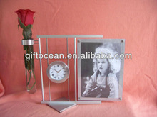 aluminium table clock rotary photo frame glass flower vase