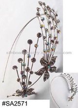 fashion metal prong setting and crystal rhinestones hair jewelry headband hairband