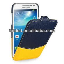 OEM Premium Leather Case for Samsung Galaxy S4/IV mini/mini LTE GT-I9190 I9195 I9192 -- Troyes (Venus: Navy Blue/Yellow)