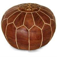 Moroccan Leather Pouf, Ottoman, Pouffe, Poof, Pouf