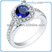 American Design Women's Sapphire Brass 14k White Gold Plated Finger Ring Wedding/Engagement Rings With Blue CZ Diamonds