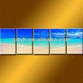การออกแบบใหม่ล่าสุดชายหาดทรายสีฟ้ามหาสมุทรภาพวาดบนผืนผ้าใบสำหรับขายส่ง