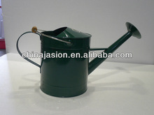 dark blue Watering Can with long neck +jug mouth +wire movable handle with wooden block on top and fixed handle on side