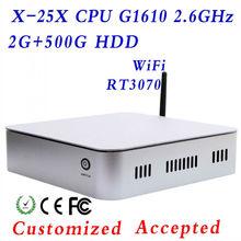 XCY X-25X Cheap Thin Client Intel G1610 motherboard desktop1080P HDMI,2G DDR3, 500G HHD, USB 2.0*4; HDMI*1, VGA*1