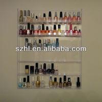 Clear acrylic wall mounted nail polish display stand