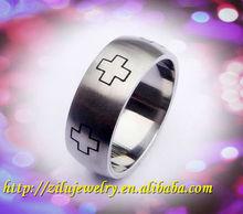 316L Stainless Steel Mens Finger Ring With Cross Design