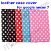 New Product Magnetic Polka Dots Stand Flip Leather Case Cover For ASUS Google Nexus 7, Flip Side Case Cover for tablet 7""