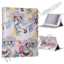 Beautiful Flying Birds Bling Diamond Flower Pattern Rhinestone Stand Leather Flip Case For iPad 2/iPad 3/iPad 4