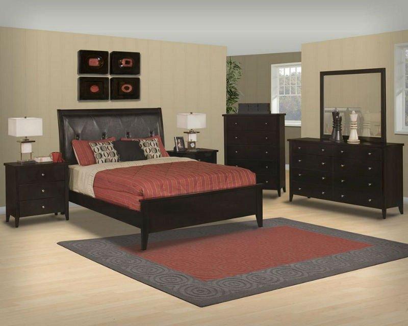 Baño Pintado De Amarillo:Negro de madera de cerezo contemporáneo reina juego de dormitorio