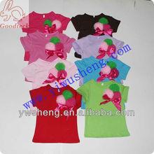 Fashion plain girl top summer short sleeve kids t shirt with flower