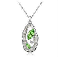 Austrian crystal necklace, acacia love bean (olive)