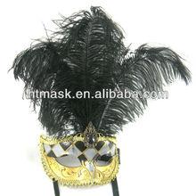 Long Black Ostrich Feather Eye Masks Female