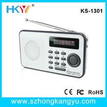 Portable 3.5mm Earphone Jack Tuning Radio with Frequency Display, mini pocket fm radio with usb input
