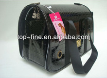 black leather dog travel carrier