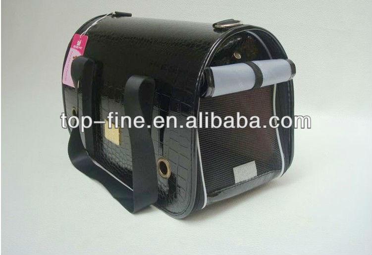 black leather dog travel carrier