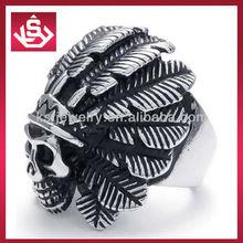 Fancy Stainless Steel Native American Indian Gothic Skull Biker Mens Ring