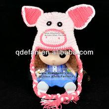lightpink pig ear flap handmade knit crochet baby beanie hat cap