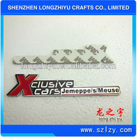 Iregular custom logo shiny chrome emblems car badges with 3M strong adhesive sticker for sale
