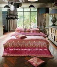 Luxury cotton bedding, Empress Wine with Mineral fiber