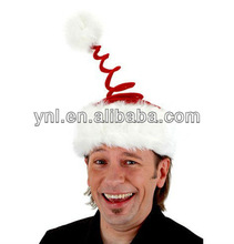 Springy Santa Claus Hat Red White Dress Up Christmas Adult Costume Accessory