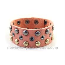 Trendy Punk Style Metal Rivet Leather Bracelet For Women