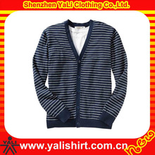 2013 OEM comfortable v-neck cotton stripe long sleeve formal men thin knitted sweater cardigan