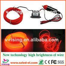 Popular red color el wire set with DC12V inverter for cars