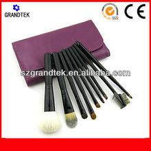 Wholesale 9pcs mini travel cosmetic brush set with purple print makeup bag