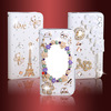 Crystal Bling Flip Magnetic Pu Leather Wallet Case Cover for Samsung Galaxy S4 i9500