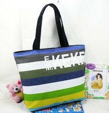 2013 striped canvas beach bag,black and white stripe shopping bags
