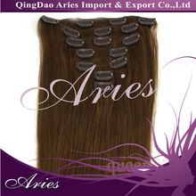 100% Indian Hair Clip in Extension Silky Straight 8 Piece Set Color 2 Darkest Brown