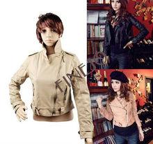 Locomotive leisure pu leather coat Fashion women's jacket+wool Motorcycle/biker Jacket 7641
