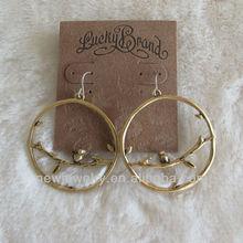L001 Western style brand earrings alloy antique gold sparrow bird earrings
