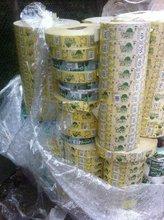 Reels of printed labels on PP OPP PET