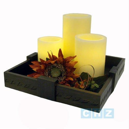 Madera centro de mesa con cera de la vela soportes para for Centros de mesa de madera