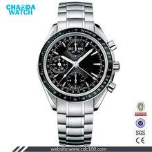 men quartz stainless steel back geneva watch