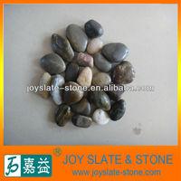 mixed color natural pebble stone walkway