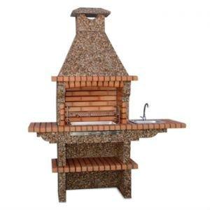 Barbacoa de ladrillo con fregadero bbq av270 godo for Asadores de jardin de ladrillo
