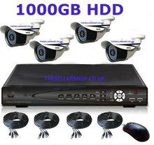 CCTV Network 1TB DVR 4x650 TV Line High Resolution CCTV Surveillance IR Security Outdoor Cameras