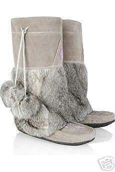 Eskimo Native Indian Mukluk Boots Mukluks Suede Grey Gray