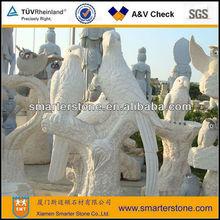 White Granite Hawks Sculptures