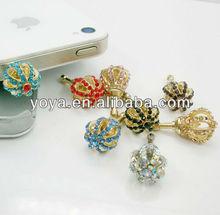 P0824 Crystal Pave Crown Earphone Jack Dust Plug,Phone Charm