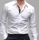 White Long Sleeve Plain Mens Shirt